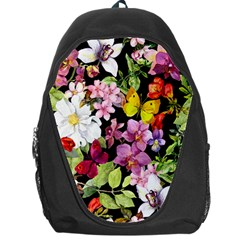 Beautiful,floral,hand painted, flowers,black,background,modern,trendy,girly,retro Backpack Bag
