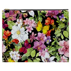 Beautiful,floral,hand painted, flowers,black,background,modern,trendy,girly,retro Cosmetic Bag (XXXL)