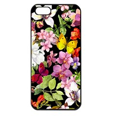 Beautiful,floral,hand painted, flowers,black,background,modern,trendy,girly,retro Apple iPhone 5 Seamless Case (Black)