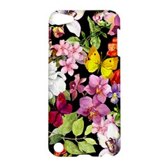 Beautiful,floral,hand painted, flowers,black,background,modern,trendy,girly,retro Apple iPod Touch 5 Hardshell Case