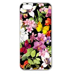 Beautiful,floral,hand painted, flowers,black,background,modern,trendy,girly,retro Apple Seamless iPhone 5 Case (Clear)