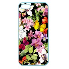 Beautiful,floral,hand painted, flowers,black,background,modern,trendy,girly,retro Apple Seamless iPhone 5 Case (Color)