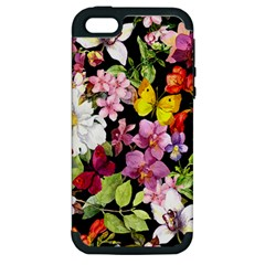 Beautiful,floral,hand painted, flowers,black,background,modern,trendy,girly,retro Apple iPhone 5 Hardshell Case (PC+Silicone)