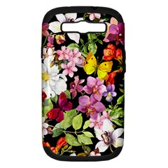 Beautiful,floral,hand painted, flowers,black,background,modern,trendy,girly,retro Samsung Galaxy S III Hardshell Case (PC+Silicone)