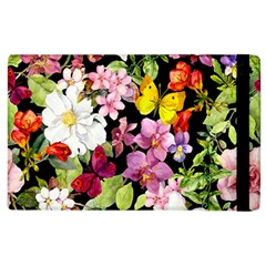 Beautiful,floral,hand painted, flowers,black,background,modern,trendy,girly,retro Apple iPad 3/4 Flip Case
