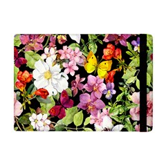 Beautiful,floral,hand painted, flowers,black,background,modern,trendy,girly,retro Apple iPad Mini Flip Case