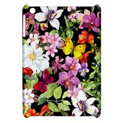 Beautiful,floral,hand painted, flowers,black,background,modern,trendy,girly,retro Apple iPad Mini Hardshell Case