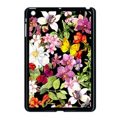 Beautiful,floral,hand painted, flowers,black,background,modern,trendy,girly,retro Apple iPad Mini Case (Black)