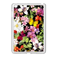 Beautiful,floral,hand painted, flowers,black,background,modern,trendy,girly,retro Apple iPad Mini Case (White)