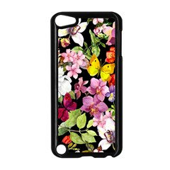 Beautiful,floral,hand painted, flowers,black,background,modern,trendy,girly,retro Apple iPod Touch 5 Case (Black)