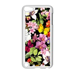 Beautiful,floral,hand painted, flowers,black,background,modern,trendy,girly,retro Apple iPod Touch 5 Case (White)