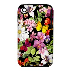 Beautiful,floral,hand painted, flowers,black,background,modern,trendy,girly,retro iPhone 3S/3GS