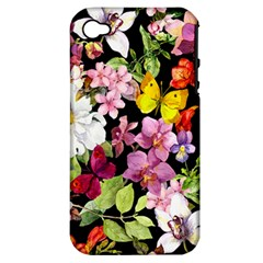 Beautiful,floral,hand painted, flowers,black,background,modern,trendy,girly,retro Apple iPhone 4/4S Hardshell Case (PC+Silicone)