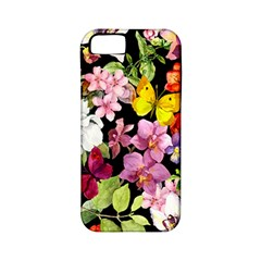 Beautiful,floral,hand painted, flowers,black,background,modern,trendy,girly,retro Apple iPhone 5 Classic Hardshell Case (PC+Silicone)