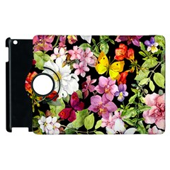 Beautiful,floral,hand painted, flowers,black,background,modern,trendy,girly,retro Apple iPad 2 Flip 360 Case