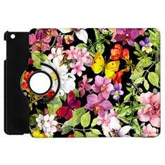 Beautiful,floral,hand Painted, Flowers,black,background,modern,trendy,girly,retro Apple Ipad Mini Flip 360 Case by 8fugoso