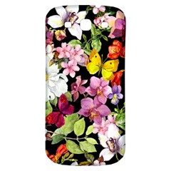 Beautiful,floral,hand painted, flowers,black,background,modern,trendy,girly,retro Samsung Galaxy S3 S III Classic Hardshell Back Case