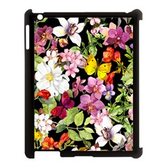 Beautiful,floral,hand painted, flowers,black,background,modern,trendy,girly,retro Apple iPad 3/4 Case (Black)