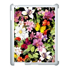 Beautiful,floral,hand painted, flowers,black,background,modern,trendy,girly,retro Apple iPad 3/4 Case (White)