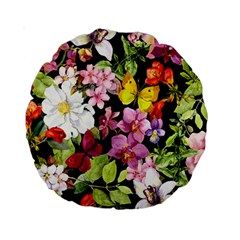 Beautiful,floral,hand painted, flowers,black,background,modern,trendy,girly,retro Standard 15  Premium Round Cushions