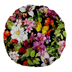 Beautiful,floral,hand painted, flowers,black,background,modern,trendy,girly,retro Large 18  Premium Round Cushions