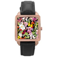 Beautiful,floral,hand painted, flowers,black,background,modern,trendy,girly,retro Rose Gold Leather Watch