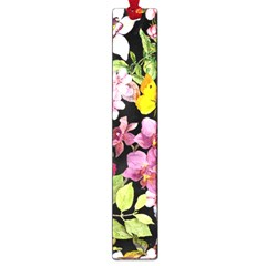 Beautiful,floral,hand painted, flowers,black,background,modern,trendy,girly,retro Large Book Marks