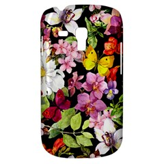 Beautiful,floral,hand painted, flowers,black,background,modern,trendy,girly,retro Galaxy S3 Mini