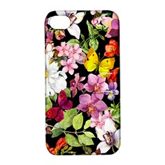 Beautiful,floral,hand painted, flowers,black,background,modern,trendy,girly,retro Apple iPhone 4/4S Hardshell Case with Stand