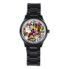 Beautiful,floral,hand painted, flowers,black,background,modern,trendy,girly,retro Stainless Steel Round Watch