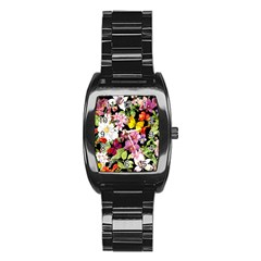 Beautiful,floral,hand painted, flowers,black,background,modern,trendy,girly,retro Stainless Steel Barrel Watch