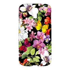 Beautiful,floral,hand painted, flowers,black,background,modern,trendy,girly,retro Samsung Galaxy S4 I9500/I9505 Hardshell Case