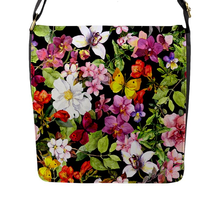 Beautiful,floral,hand painted, flowers,black,background,modern,trendy,girly,retro Flap Messenger Bag (L)