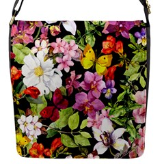 Beautiful,floral,hand painted, flowers,black,background,modern,trendy,girly,retro Flap Messenger Bag (S)