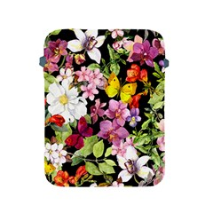 Beautiful,floral,hand painted, flowers,black,background,modern,trendy,girly,retro Apple iPad 2/3/4 Protective Soft Cases