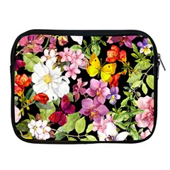 Beautiful,floral,hand painted, flowers,black,background,modern,trendy,girly,retro Apple iPad 2/3/4 Zipper Cases