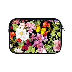 Beautiful,floral,hand painted, flowers,black,background,modern,trendy,girly,retro Apple iPad Mini Zipper Cases
