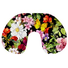 Beautiful,floral,hand painted, flowers,black,background,modern,trendy,girly,retro Travel Neck Pillows