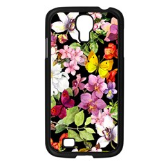 Beautiful,floral,hand painted, flowers,black,background,modern,trendy,girly,retro Samsung Galaxy S4 I9500/ I9505 Case (Black)