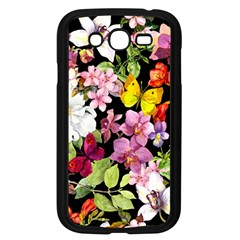 Beautiful,floral,hand painted, flowers,black,background,modern,trendy,girly,retro Samsung Galaxy Grand DUOS I9082 Case (Black)