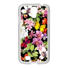 Beautiful,floral,hand painted, flowers,black,background,modern,trendy,girly,retro Samsung GALAXY S4 I9500/ I9505 Case (White)