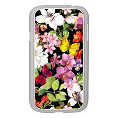 Beautiful,floral,hand painted, flowers,black,background,modern,trendy,girly,retro Samsung Galaxy Grand DUOS I9082 Case (White)