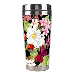 Beautiful,floral,hand painted, flowers,black,background,modern,trendy,girly,retro Stainless Steel Travel Tumblers