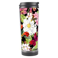 Beautiful,floral,hand painted, flowers,black,background,modern,trendy,girly,retro Travel Tumbler