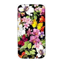 Beautiful,floral,hand painted, flowers,black,background,modern,trendy,girly,retro Samsung Galaxy S4 I9500/I9505  Hardshell Back Case