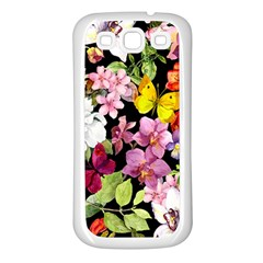 Beautiful,floral,hand painted, flowers,black,background,modern,trendy,girly,retro Samsung Galaxy S3 Back Case (White)