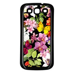 Beautiful,floral,hand painted, flowers,black,background,modern,trendy,girly,retro Samsung Galaxy S3 Back Case (Black)