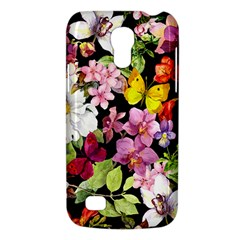 Beautiful,floral,hand painted, flowers,black,background,modern,trendy,girly,retro Galaxy S4 Mini