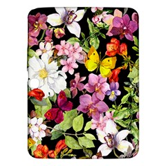 Beautiful,floral,hand painted, flowers,black,background,modern,trendy,girly,retro Samsung Galaxy Tab 3 (10.1 ) P5200 Hardshell Case