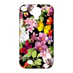 Beautiful,floral,hand painted, flowers,black,background,modern,trendy,girly,retro Samsung Galaxy S4 Classic Hardshell Case (PC+Silicone)